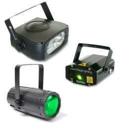 Skytec - Pack Iluminacion 4: Moon Flower + Laser Rojo y Verde + Strobo 150W