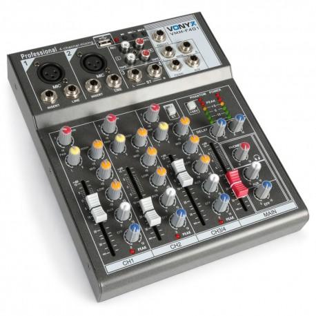 Vonyx - VMM-F401 Mezclador Musicos 4 canales 1
