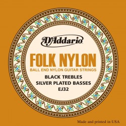 D'addario - EJ32 Folk Nylon, Ball End, Silver Wound/Black Nylon 1