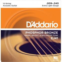 D'addario - EJ41 12-String Phosphor Bronze, Extra Light [9-45]
