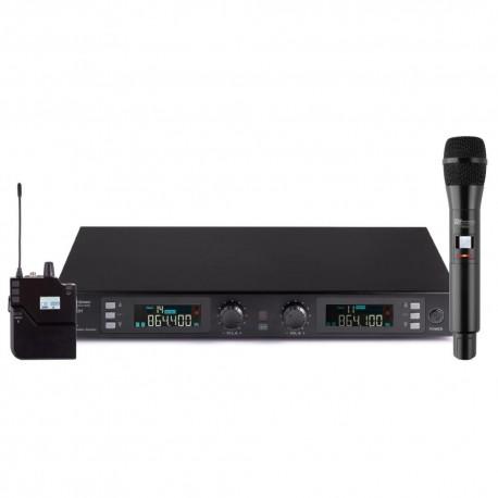 Powerdynamics - PD632C Microfono inalambrico de 2 canales UHF digital con 1 micro de mano y 1 micro de cabeza 179.012 1
