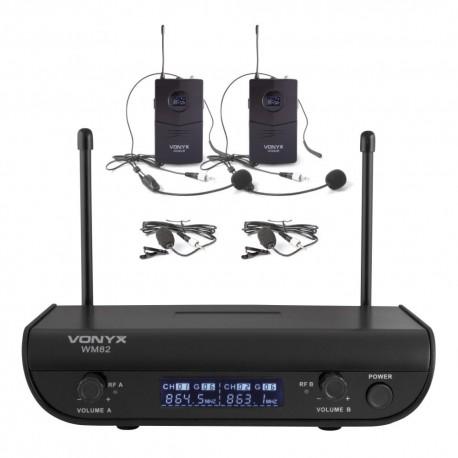 Vonyx - WM82 Microfono inalambrico digital UHF 2 canales con 2 micros de cabeza 179.214 1