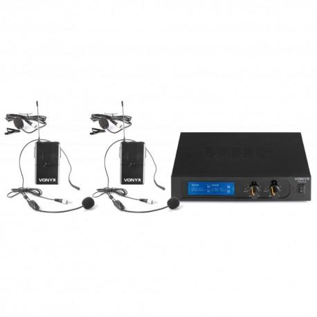 Vonyx - WM522B Microfono inalambrico VHF 2 canales con 2 micros de cabeza 179.235 1
