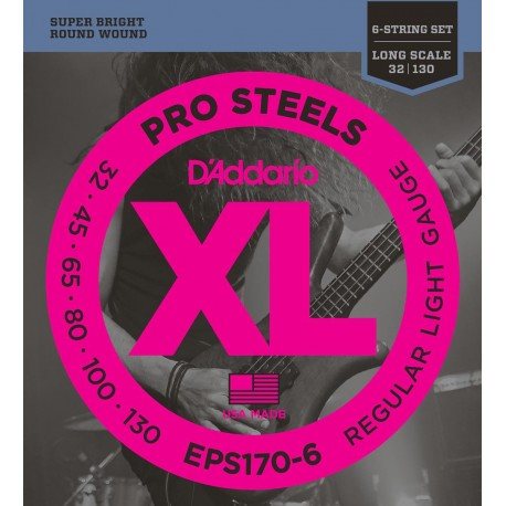 D'addario - EPS170-6 PROSTEELS 6-STRING BASS, LIGHT, LONG SCALE [32-130] 1