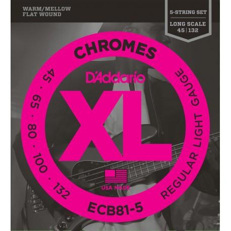 D'addario - ECB81-5 CHROMES BASS 5-STRING, LIGHT, LONG SCALE [45-132] 1