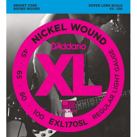 D'addario - EXL170SL NICKEL WOUND, LIGHT, SUPER LONG SCALE [45-100] 1