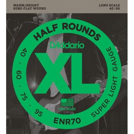 D'addario - ENR70 XL HALF ROUNDS SUPER LIGHT [40-95] 1