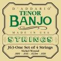 D'addario - EJ63 TENOR BANJO, NICKEL, [9-30]