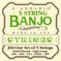 D'addario - J60 5-STRING BANJO, STAINLESS STEEL, LIGHT, [10-20]