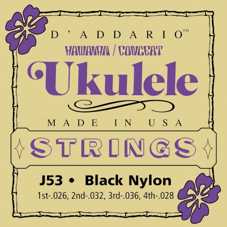 D'addario - J53 HAWAIIAN UKULELE BLACK NYLON 1